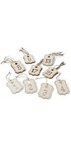 Chiffres de 1 à 24 pour calendrier de l'Avent en bois 5 x 7 cm