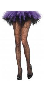 Collant noir toile d'araignée Halloween