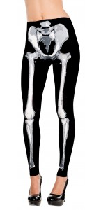 Collant sans pied squelette Halloween