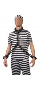 Collier et menottes de prisonnier 100 cm