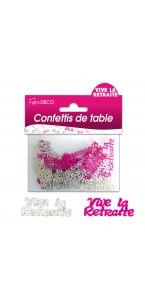 Confettis de table Vive la Retraite roses argent