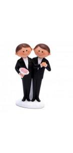 Couple de mariés homme costume noir en résine