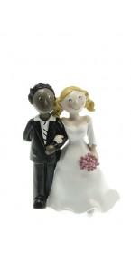 Couple de mariés mixte blanc et noir