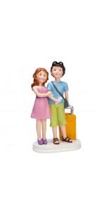 Couple de mariés partant en voyage 11 x 7 x 19 cm