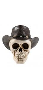 Crâne en résine chapeau de cowboy Halloween