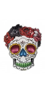 Déco murale PVC Mrs Day of Dead Halloween 59 x 48 cm