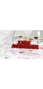 Décoration de table Joyeux Anniversaire rouge passion + 2 étoiles  3D- A poser