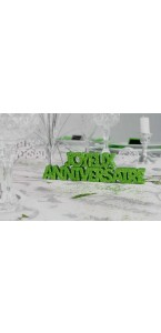 Décoration de table Joyeux Anniversaire vert excellence + 2 étoiles  3D- A poser