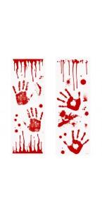 Décoration murale mains ensanglantées rouge Halloween