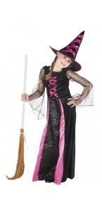 Déguisement de sorcière noir et rose Halloween