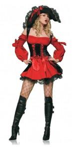 Déguisement Pirate sexy rouge et noir