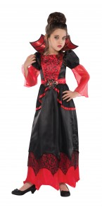 Déguisement reine vampire noir et rouge Halloween  8/10ans
