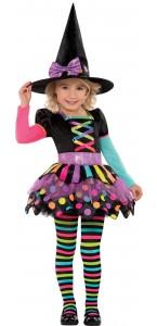 Déguisement sorcière colorée halloween
