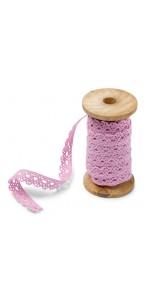 Dentelle rose sur bobine en bois 1 cm x 5 m