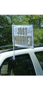 Drapeau de voiture Just married 35,5 x 45,7 cm