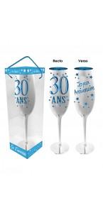 Flûte à champagne 30 ans-bleue