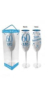 Flûte à champagne 60 ans-bleue