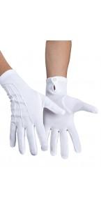 Gants blancs coton avec pression