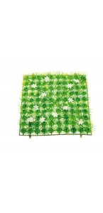 Gazon avec fleurs blanches 25 x 25 cm