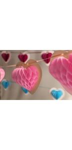 Guirlande 10 coeurs roses alvéolés sur ruban 4 m