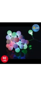 Guirlande Boule 60 leds multicolores 8 fonctions 5 m