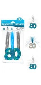 Guirlande Cascade 80 ans Hologramme bleue