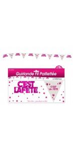 Guirlande Fil C'est la fête hologramme rose