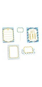 Kit de 12 décorations de buffet à pois bleus