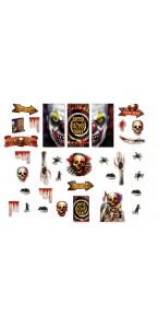 Kit de décoration scene setter clown effrayant Halloween 33 pièces