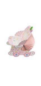 Landau bébé fille en papier alvéolé rose