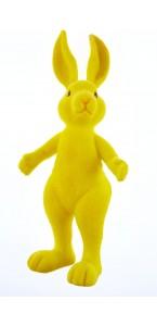 Lapin flocké jaune debout 13,5 x 31 cm