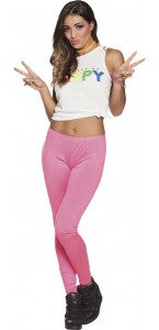 Leggings opaque rose fluo  strech taille M