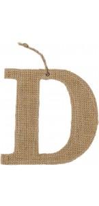 Lettre D en jute 15,5 cm