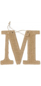 Lettre M en jute 15,5 cm