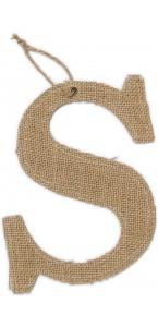 Lettre S en jute 15,5 cm