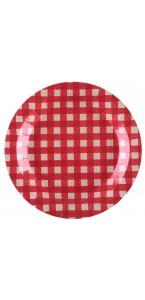 Lot de 10 assiettes Tradition Vichy rouge/blanc 22,5 cm