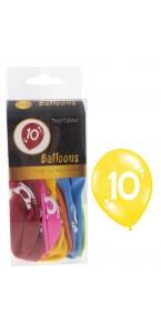 Lot de 10 ballons de baudruche Age 10 ans en latex D 25cm