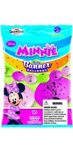 Lot de 10 ballons double attache Minnie en latex 30 cm