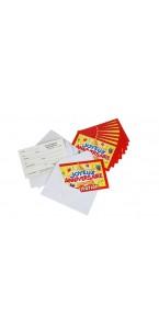 Lot de 10  cartes invitation Joyeux anniversaire