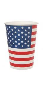 Lot de 10 gobelets Amérique en carton 7,5 x 9,7 cm