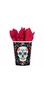 Lot de 10 gobelets en carton Jour des morts Halloween 25 cl