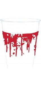 Lot de 10 gobelets en carton tâches de sang  Halloween40 cl