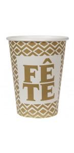 Lot de 10 gobelets or Fête en carton D 7,8 cm x 9,7 cm