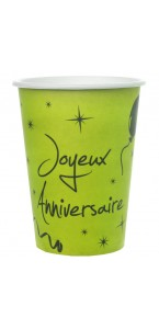 Lot de 10 gobelets verts Joyeux Anniversaire Festif en carton 7,5 x 9,7 cm