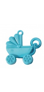 Lot de 10 Landaus en plastique bleu  à suspendre 4,x 3,5 cm