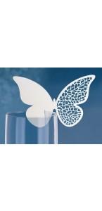 Lot de 10 marque-place papillon blanc 12,5 x 7,6 cm