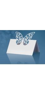 Lot de 10 marque-place papillon blanc 9 x 7,3 cm