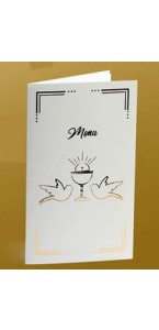 Lot de 10 menus blancs impression or