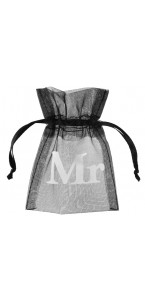 Lot de 10 sachets Mr & Mrs organdi noir 7,5 x 10 cm