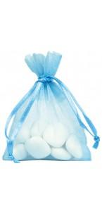 Lot de 10 sachets organdi bleu
